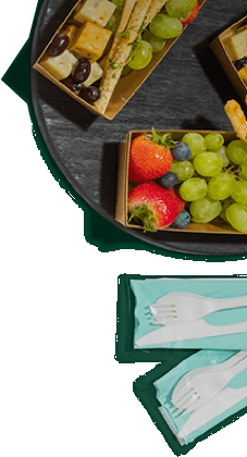 Cheese & fruit platter with utensils
