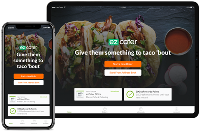 ezCater mobile app on an iphone and ipad
